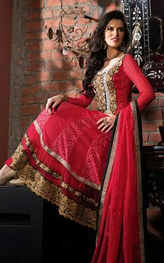RED GEORGETTE EMBROIDERED SALWAR KAMEEZ - WHRO 6001A