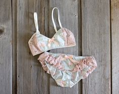 Mint and Pink 'Vapor' Floral and Lace Ruffle Lingerie Set Handmade to Order on Etsy, $113.39 CAD