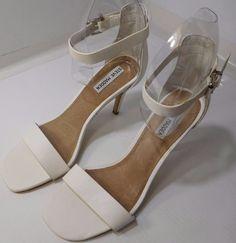 8251eb90987 Details about Women Steve Madden Bayyside Square Toe Sandals Heels Open Toe  White Heel US 9.5