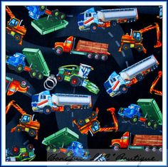BonEful Fabric Cotton Big Rig Mac Semi TRUCK Road Construction Car Vehicle SCRAP