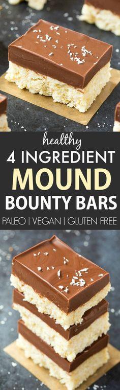 4 Ingredient No Bake Mound Bounty Bars (Paleo, Vegan, Gluten-Free)