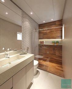 """485 Likes, 7 Comments - Decor and Fun @alcearquitetura (@decor_and_fun) on Instagram: """"Banheiro lindo com revestimento 3D, área de banho com porcelanato amadeirado e um nicho iluminado…"""""""