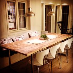 Old floor boards reused and turned into dining table. Dining Table, Boards, Flooring, Rustic, Diy, Furniture, Home Decor, Planks, Country Primitive
