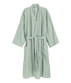 Washed linen dressing gown - Dusky green - Home All Cute Bathroom Ideas, Bathroom Kids, Lava, Bed Back, H&m Home, Bathroom Essentials, H&m Online, Bathroom Interior Design, Fashion Online