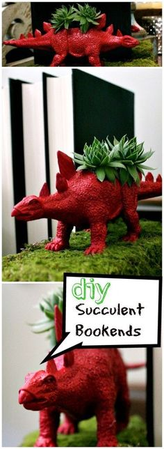 These are dino-rific. Fun bookends succulent planters @reFreshreStyle Debbie Westbrooks