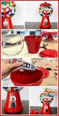 diy knutselen DIY Gumball Machine for Incentives - Sugar Bee Crafts Flower Pot Crafts, Clay Pot Crafts, Bee Crafts, Crafts For Kids, Diy Clay, Flower Pots, Clay Pot Projects, Party Crafts, Shell Crafts