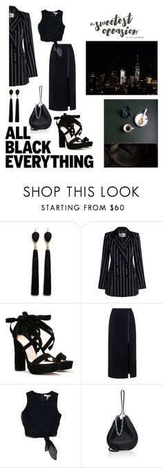 """Monochrome Black Outfit."" by jullia-raquel ❤ liked on Polyvore featuring Mignonne Gavigan, Zimmermann, Nasty Gal, A.L.C., Elizabeth and James and Alexander Wang"