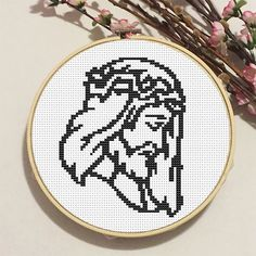 Jesus Christ. Cross Stitch Pattern. PDF Chart. Easy Pattern. Instant Download. DIY Easter Decor. Quote. Bible. Easter. Icon.
