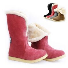 $10.05 Women's Ankle Boots Thick Fur Winter Shoes Flats