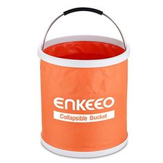 Enkeeo Collapsible Folding Water Bucket 11L 3 Gallon Multifunctional for Fishing Camping Hiking Travel Gardening with EVA Handle Grip Water Resistant Fabric Ultra Portable Shape Orange *** Want additional info? Click on the image. (This is an Amazon affiliate link)