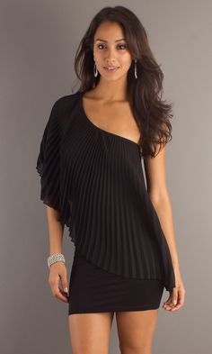 Pleated Little Black Dress, Short Black Dresses - Simply Dresses