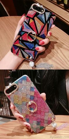 Elegant Diamond-bordered Colorful Tassels Shining Luxurious Iphone 7/7 plus/8/8 plus Case for big sale! #iphone #case #iphone7plus, #iphone7pluscase