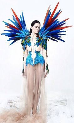 bird, wings - editorial, avant garde, chic, fashion,