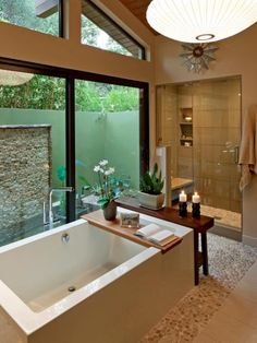 You can have privacy while allowing natural light to flood into the most relaxing room in your house.