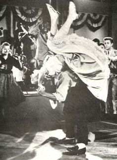fifties dance scene...flip over the back... I have done this so many times....FUN!