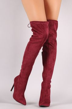 These over the knee boots feature a slightly stretchy vegan suede shaft with an adjustable drawstring ties collar and pointy toe silhouette. Pull on constructio Stretch Thigh High Boots, How To Stretch Boots, Slip On Boots, Pull On Boots, Cute Boots, Sexy Boots, Red Fashion, Fashion Boots, Red Shoes