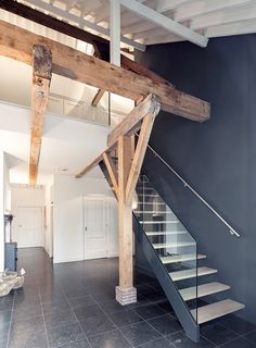 Stairs glass steel wood renovation monumental farmhouse architecture and interior design by - Renovatie hout ...