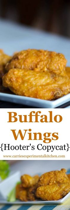 Make the infamous Hooter's Buffalo Wings at home with a few simple ingredients. This copycat recipe is perfect for game day snacking too! Copycat Recipes, Great Recipes, Favorite Recipes, Recipe Ideas, Buffalo Wings, Chicken Wing Recipes, Baked Chicken, Chicken Wontons, Thai Chicken