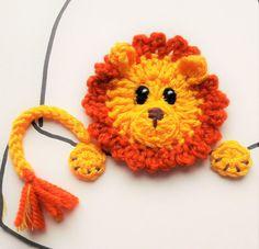 Crochet Lion Applique Safari Animals Crochet Animals by 2mice