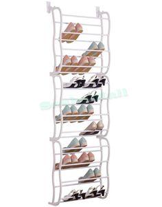 12 Tier / 36 Pairs Hanging Over The Door Shoe Rack Hook Storage Organiser  Stand