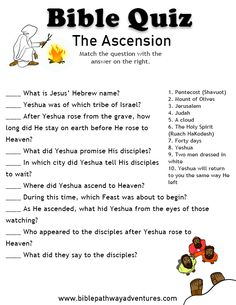 The Ascension Bible Games, Bible Activities, Bible Trivia, Catholic Gospel, Bible Study For Kids, Bible Lessons For Kids, Sunday School Kids, Sunday School Crafts, Bible Quiz