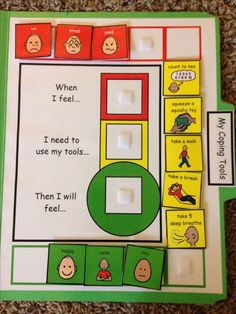 This is another way to teach children coping skills in order to help self-regulation during times of need. This activity brings the child through a sequence of actions using the cards in order to help him or her calm down. This activity provides the child with choices in terms of what tools or strategies that can use during times of need in order to improve overall emotional behavior.