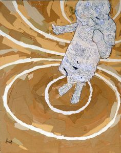 Draw yourself 03  collage on wood fibre  100x80  2011