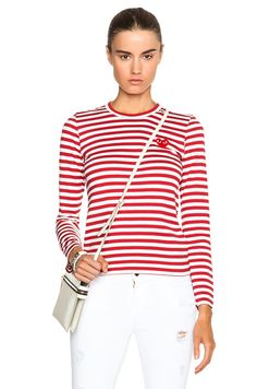 Comme Des Garcons PLAY Striped Cotton Red Emblem Tee in Red & White