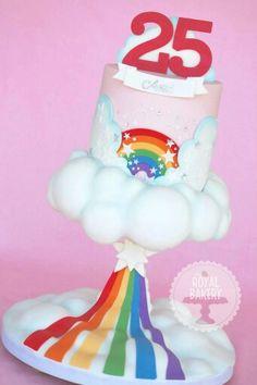How To Make a Rainbow Birthday Cake - Novelty Birthday Cakes Anti Gravity Cake, Gravity Defying Cake, 25th Birthday Cakes, Novelty Birthday Cakes, Novelty Cakes, Care Bear Cakes, Fondant, Cake Structure, Cloud Cake