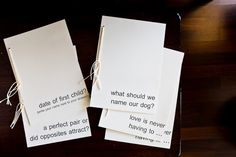 [diy] wedding 'guest book' questionnaires.