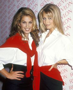 Memorable White Shirt Moments Through the Decades - Cindy Crawford and Claudia Schiffer, 1992 from #InStyle