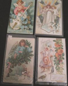 Post Cards Antique Holiday Lot Of 4 Embossed Thanksgiving Easter Angels Valentin #ThanksgivingEaster