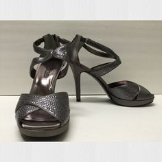 "Moda Spana Macie Pewter Heels 👠 Super cute! Worn once at a wedding as part of the bridal party. Very comfy. Satin and sequin upper. Heel zipper ½"" platform. 3¾"" covered heel Moda Spana Shoes Heels"