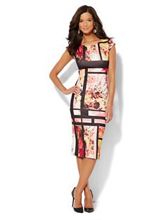 Shop Floral Geo Print Scuba Midi Sheath Dress . Find your perfect size online at the best price at New York & Company.