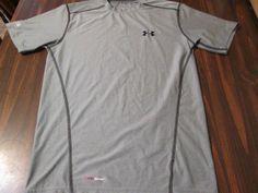 UNDER ARMOUR Mens Fitted HeatGear Crew Tee Shirt SMALL Gray Short Sleeve #UNDERARMOUR #ShirtsTops