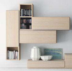 #Almacenaje para el #comedor. Mueble de la colección Trazos de Kibuc con módulo colgante para organizar material multimedia.