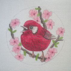 "handpainted needlepoint canvas 4"" Red Warbler 18ct. by Mary Tussey"