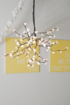 White Cherry Blossom Chandelier Mobile by amiesniderDESIGN on Etsy, $62.00