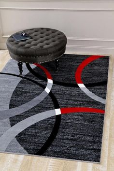 Gray Red Abstract Modern Geometric Area Rugs For Living Room Bedroom - Bargain Area Rugs