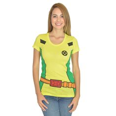 Marvel X-Men: Rogue Costume Women's Yellow T-Shirt. Yellow short sleeve tee, crew neck with full color Xmen's Rogue suit full front graphic. 100% Licensed and Authentic.
