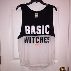 VS Basic Witches Tank Bought this for Halloween so only wore it once. It's a size medium and has no stains or holes. Material is very thin that was the only flaw for me. Super cute comfortable though just don't think I'll wear it again so decided to sell it! PINK Victoria's Secret Tops Tank Tops