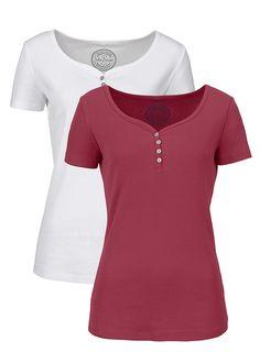 Shirt w prążek (2 szt.), krótki rękaw Dł • 59.98 zł • bonprix