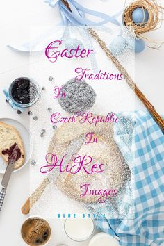 Table with Easter traditional meal in Czech Republic, eggs, sweet yeasty bread - mazanec and pomlazka. Easter Symbols, Brunch Table, Easter Traditions, Blue Fashion, Czech Republic, Meal, Eggs, Stock Photos, Traditional