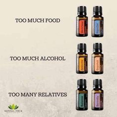 Too much food; too much alcohol; too many relatives - essential oils Essential Oils For Pain, Essential Oils Guide, Essential Oil Diffuser Blends, Essential Oil Uses, Easential Oils, Doterra Essential Oils, Hangover Essential Oils, Doterra Blends, Elixir Floral
