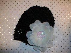 Childrens Infant Black and Ivory Waffle Hat with by LambyDoo, $3.25