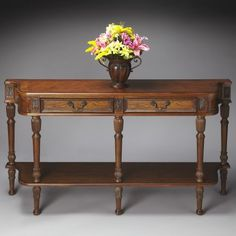 Butler Console Table 33H In.   Vintage Oak   Traditional   Side Tables And  Accent