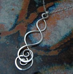 Dangling Swirls  Sterling silver necklace by strungoutdesigns, $35.00