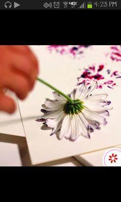 Flower petal painting for kids