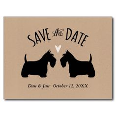 Scottish Terriers Wedding Save the Date Postcard