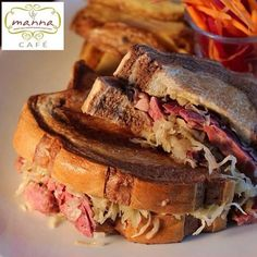 Try the deli sandwich of your dreams: Reuben Sandwich -- perfect for lunch or dinner. Available at Manna at the level of SM City BF Paranaque. Reuben Sandwich, Deli Sandwiches, Menu, Lunch, Dreams, Dinner, City, Food, Menu Board Design